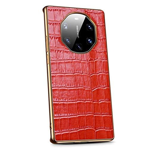 BINGRAN Hülle Huawei Mate 40 RS Porsche Design Hülle Hochwertige PU Leder Cover Handyhülle mit Krokodil Muster Stoßfeste Kratzfeste Schutzhülle Hülle für Huawei Mate 40 RS Porsche Design(Rot)