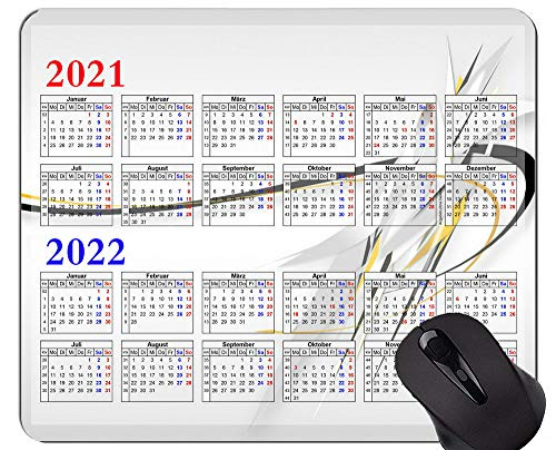 2021-2022 Calendar Mouse Pad,Abstract Lines Mouse Pad with Stitched Edge
