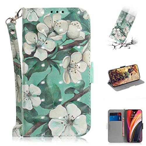 Nadoli Wallet Case for iPhone 12 Pro 6.1',3D Effect Green Flower Pattern Pu Leather Cover ID Card Holder Function Flip Kickstand Strap Case for iPhone 12 Pro 6.1'