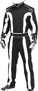 K1 Race Gear Triumph 2, Single Layer SFI-1 Proban Cotton Fire Suit (Black/White, Large) (20-TR2-NW-L)