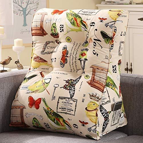 JYX 100% Baumwolle Taille Kissen,Multifunktion Dreieck Kissen Keilkissen Kissen Waschbar Lesen Kissen Support Für Kissen Zurück Für Bett Sofa-r 55x60cm(22x24inch)