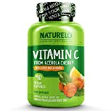 NATURELO Premium Vitamin C with Organic Acerola Cherry and Citrus Bioflavonoids - Whole Food Powder Supplement - Not Synthetic Ascorbic Acid - 500 mg - Non-GMO - Raw Vegan - 90 Capsules from NATURELO