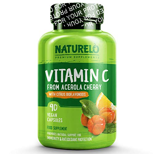 NATURELO Vitamin C with Organic Acerola Cherry and Natural Citrus Bioflavonoids - Whole Food Vegan Supplement - 500 mg - Time Release - Non-GMO - 90 Capsules