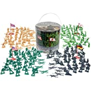 Army Men Action Figures - 200+ Toy Soldiers of WWII - Big Bucket of Life-like Military Men in Realistic Poses - 4 World War II Flags Included