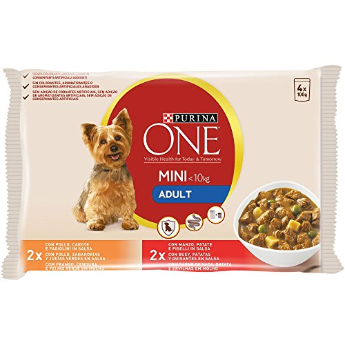 Purina ONE MINI comida para perros húmeda en Salsa Perro Adulto Pollo y Buey 10 x [4 x 100 g] ⭐