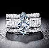 MAIHAO 925 Silver Jewelry Marquise Cut 2.85ct White Sapphire Women Wedding Ring Set Size 6-10 (US Code 7)