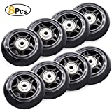 8 Pack Inline Skate Wheels, 70mm 82A Roller Skating Wheels Replacement with Bearings ABEC 7 - Black