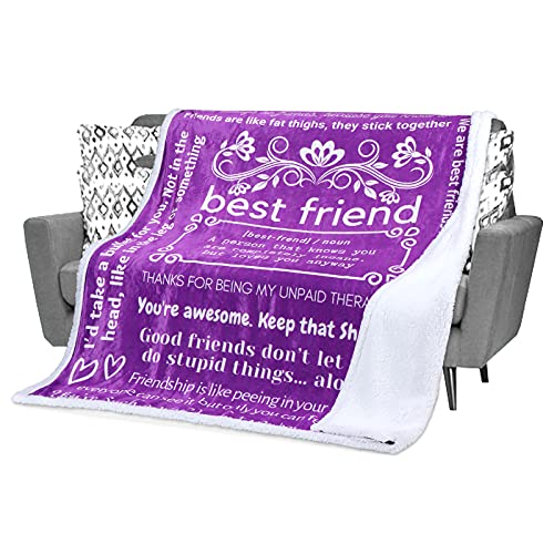 Funny Best Friend Blanket - Best Friend Birthday Gifts for Women, Friendship Gift Unique, Fun Gag BFF Throw Blankets with Hilarious Quotes and Sayings About Your Friendship (Purple, Sherpa)