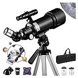 J-Love Telescopio Refractor, telescopio Refractor 70 mm con trípode, buscador, telescopio portátil para niños, astronomía, Principiantes, con Adaptador teléfono, Bolsa portátil