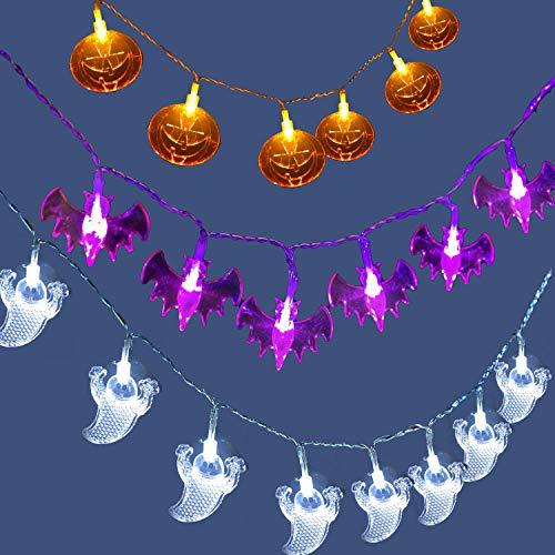 Halloween Lichterkette, 3m 20led KüRbis, Geist und Fledermaus Halloween Lichter, Halloween Dekoration Beleuchtung Batteriebetriebene Halloween Lampe für Deko Outdoor Indoor (Batterie nicht enthalten)