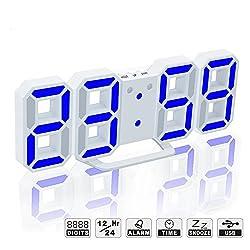 Evangel LED Digital Alarm Clock for Desk/Shelf/Tabletop, Modern Home Decoration 3D Wall Clock, Easy to Read at Night, Loud Alarm and Snooze, Big Digit Display (White Frame, Blue Light)