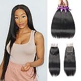 Beaudiva Hair Straight Hair 3 bundles With Closure(18 20 22+16 Free Part),100% Unprocessed Professional Brazilian Virgin Human Hair Weave For Black Women