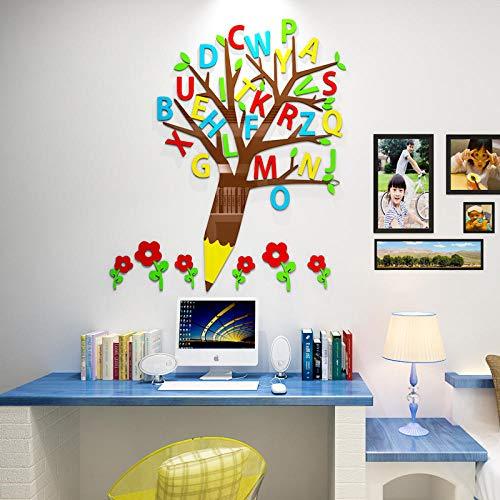 Educación temprana letras inglesas 3d estéreo pegatinas de pared habitación infantil pegatinas de pared jardín de infantes primaria diseño de salón de clase decoración @ 150 * 171 cm