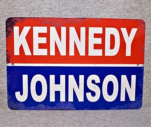 Cartel de metal con texto en inglés 'John F Kennedy' Lyndon Johnson 1960 35 President Campaña Póster JFK presidencial vintage réplica política de Estados Unidos