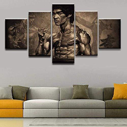 WLKJ Impresiones en Lienzo 5 Piezas Pinturas de Artes Marciales Deportivas Impresiones en HD Carteles de Bruce Lee Cuadros en Lienzo Arte de Pared decoración del hogar
