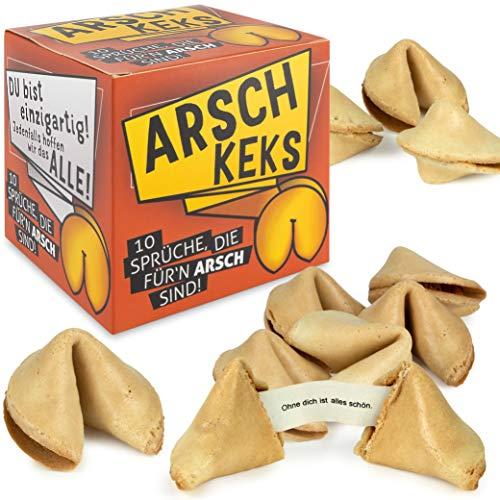Arschkeks 10 x Glückskeks lustig einzeln verpackt - Glückskekse mit Sprüchen Deutsch - Vegan auch als Geschenk - Made in Germany