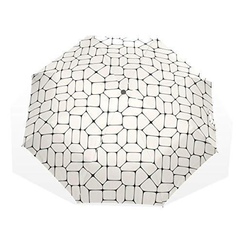 LASINSU Paraguas Resistente a la Intemperie,protección UV,Pavimento de Mosaico en Blanco y Negro Azulejos Ladrillo Diseño de tracería Conceptual Moderno