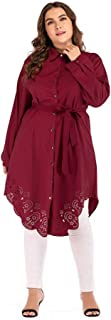 muslim fashion plus-size, loose, long-sleeved, hollow-out, belted dress