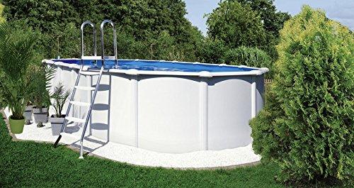 KWAD-set (5-delig): »ovaal zwembad vrijstaand met roestvrijstalen ladder« (in 3 maten) 130 cm x 920 cm x 470 cm.