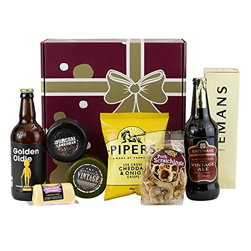 Vintage Cheese Gift Hamper.Food Hamper for That Golden Oldie. Perfect Food Gifts for Men and Women. Unusual Gifts Packed Full of Vintage Inspired Gifts.