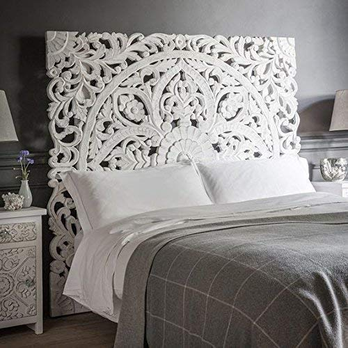 4751212245 Queen Size Boho Carved Wood Bed Headboard Hand Sculpted Wall Art Hanging  from Chiang Mai Thailand