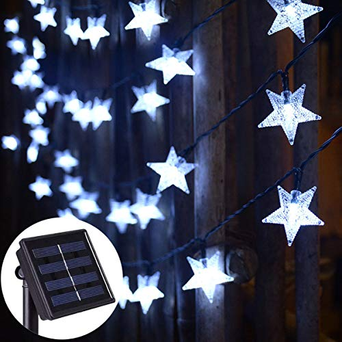 Abkshine Solar String Lights Waterproof,Blue LED Solar Star Fairy Lights for Outdoor Christmas Hanukkah Garden Path Fence Yard Festival Decoration(30ft,50 LED)