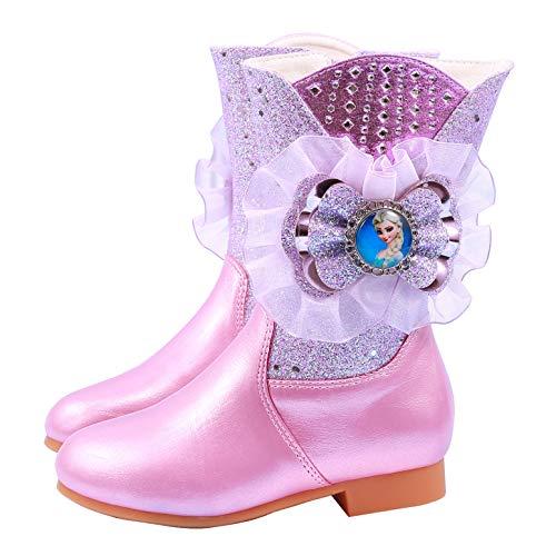 YOSICIL Botas de Nieve para Niñas Zapatos de Princesa Elsa Botas de Invierno con Forro Cálido Cómodos Botas Antideslizantes con Cremallera Botas de Tacón 26-36EU