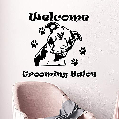 Tianpengyuanshuai Hund Wandaufkleber Pflege Salon Fenster Wandtattoo Vinyl Aufkleber Tier Fußabdruck Hund Pflege dekorative Kunst Wandbild-42x38cm
