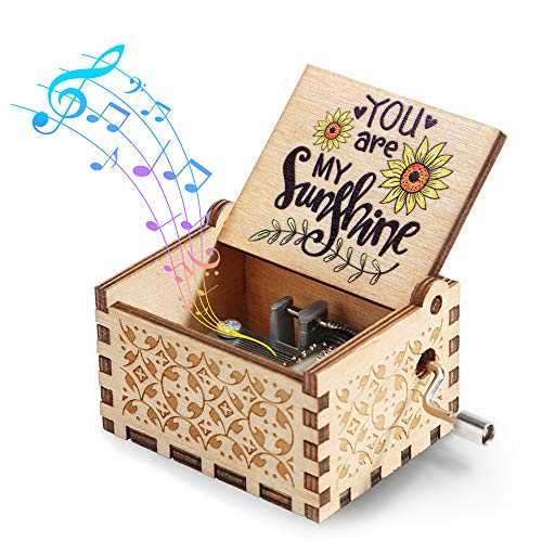 Hexagram You are My Sunshine Music Box,Hand Crank Wooden Vintage Laser Engraved Small Personalized Musical Box Gift for Birthday/Christmas/Valentines Day/Anniversary/Mother's Day…