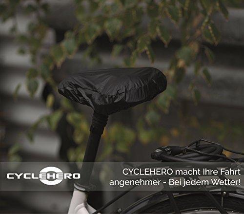CYCLEHERO Sattelbezug wasserdicht schmales Schwarzer Sattelschutz für das Fahrrad – wasserfester Regenschutz mit Gummizug und Transporttasche für Rennrad, Mountainbike und Trekkingrad (Breit) - 6