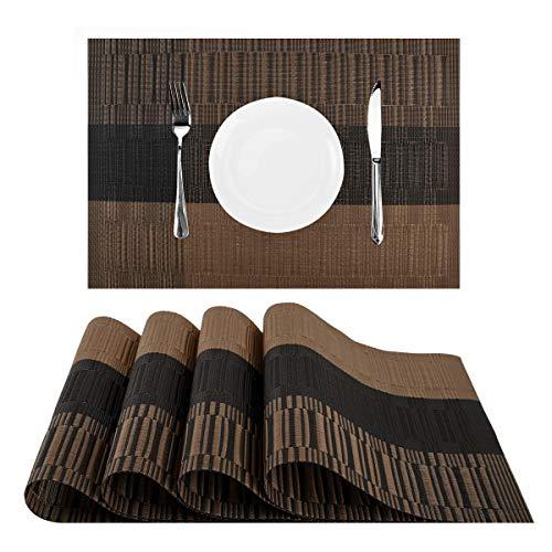Nuovoware Placemats, [4 PACK] 30 x 45 cm Premium Exquisite Crossweave Stain Resistant Heat-resistant Non-slip Textilene Woven Plaid Kitchen Table Dining Mat Pads Place Mats, Coffee