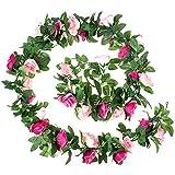 Iriisy 1 PCS Guirnalda Vide con 45 Rosas Artificiales 2.5m 8.2FT, Flores Artificiales de Seda, Color Rosa Clara Oscura, para Decoración en Hogar, Boda, Fiesta, Cumpleaños, el Día de San Valentín
