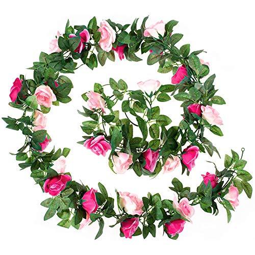 WXLAA - 5 guirnaldas de flores artificiales de 2,5 metros para decoración exterior, jardín, boda, casa, balcón