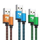 Aioneus Cable USB Tipo C, 3Pack [1M+1M+1M ] 3A Cargador Tipo C Nylon Carga...