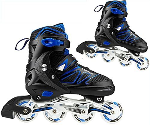 Kinder Mädchen Herren Damen Inliner | ABEC-7 Rollschuhe verstellbare Inlineskates Größe 30-45 Unisex Fitness Skates für Erwachsene Rädern Rollschuhe für Jungen Mädchen Anfänger ,Blau,XL (42~45)
