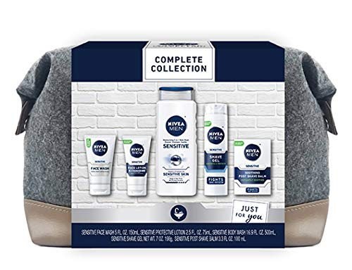 NIVEA MEN Complete Skin Care Collection for Sensitive Skin, 5 Piece Gift Set