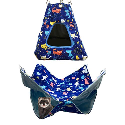 FULUE Small Animal Tent and Double Hammock for Ferret Rat Guinea Pig Degu Mice Hamster(Blue)