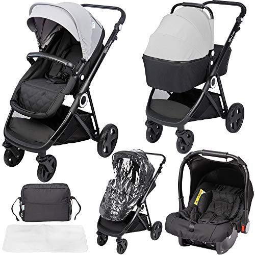 The Million Dreams 3 in 1 Travel System - Grey inc Pushchair, Newborn Car Seat, Separate Carrycot, Changing Bag with Mat, Raincover and Apron