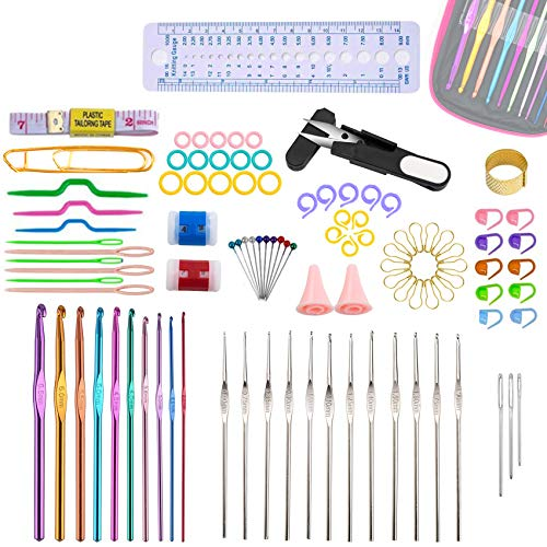 100PCS Professional Crochet Hooks Set by Maznyu, 22 Sizes Multicolor Corchet Hooks Needles, DIY Knitting Tools with Ergonomic Crochet Hooks for Beginners and Experienced Crochet Lovers