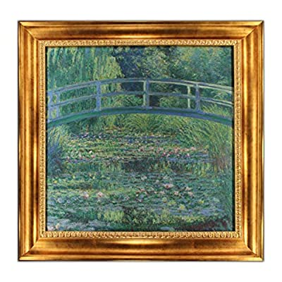 """UpperPin The Japanese Footbridge by Claude Monet, Giclee Print Framed Painting on High Quality Canvas for Wall Decoration, Victorian Gold Frame, Size 28"""" x 27"""", Ready to Hang (Labor Day Sale) from UpperPin"""