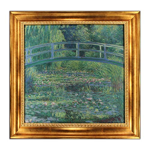 UpperPin The Japanese Footbridge by Claude Monet, Giclee Print Framed Painting on Canvas for Wall Decoration, Victorian Gold Frame, Size 28' x 27', Ready to Hang