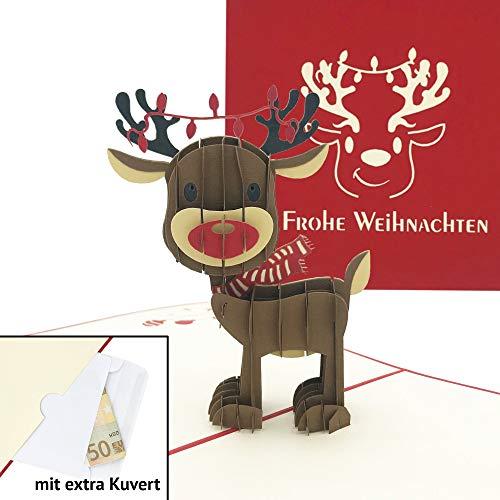 Handgemachte 3D Pop Up Weihnachtskarte mit Umschlag – Rentier Klappkarte – Ausgefallene Karte zu Weihnachten mit extra Geld-/Gutschein-Kuvert
