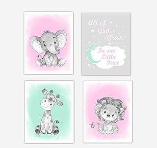 Pink Mint Green Baby Girl Nursery Wall Art Elephant Giraffe Lion Safari Animals Baby Nursery Decor SET OF 4 UNFRAMED PRINTS