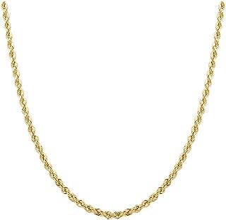 Orostar 10K Yellow Gold 3MM, 3.5MM, 4MM, Diamond Cut Handmade Rope Chain Necklace, 16