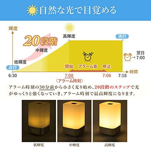 UENO-mono目覚まし時計光デジタルおしゃれ小型ボーッとしない光目覚ましASASUN間接照明LEDベッドサイドランプ2口USBアダプタ付き時計光授乳ライト