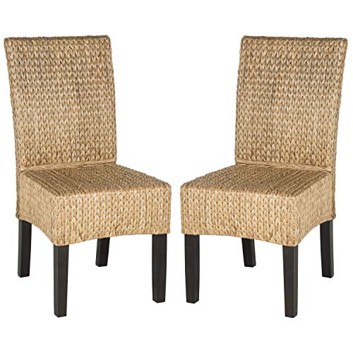 Safavieh Home Collection Silla de Comedor de Mimbre Natural (Juego de 2), 18 Pulgadas, Color marrón