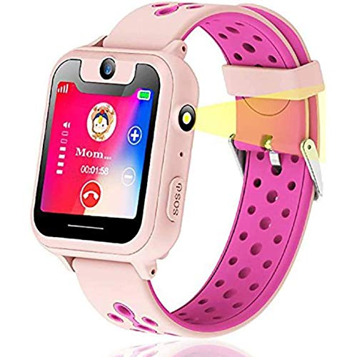 themoemoe Kids Smartwatch, Kids GPS Tracker Watch Smart Watch Phone for Kids SOS Camera Game Compatible with 2G T-Mobile (Pink)