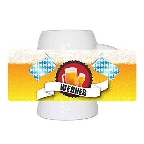 Bierkrug mit Name Werner & schönem Bier-Motiv mit blau-weißen Flaggen | Bier-Humpen | Bier-Seidel