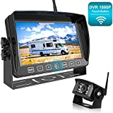 Fookoo 1080P Wireless Backup Camera System Kit with Recording, 7' HD Split Monitor with Touch Button & IP69 Waterproof Rear View Camera, Digital Signal, Parking Lines for RV/Truck/Trailer/Van