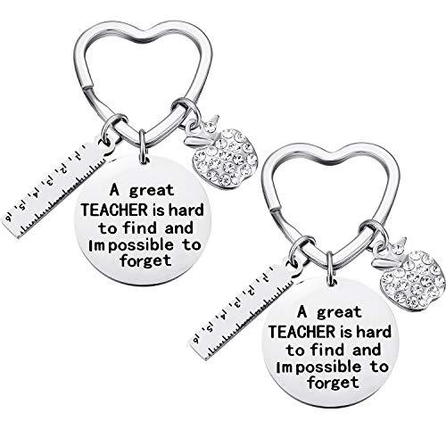 Zhanmai 2 Packungen Lehrer Schlüsselanhänger Dankeschön für Lehrer mit 2 Geschenkboxen, Lehrer Wertschätzung Geschenk Schlüsselanhänger für Geburtstag Lehrer Tag Thanksgiving-Abschluss (E)